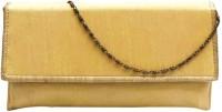 Bhamini Raw Silk Golden Brocade Border Women Party Gold Silk  Clutch