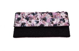 Bonito Ange Party Black, Pink Satin  Clutch