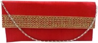 Bhamini Envelope Shape Rose Gold Lace Clutch (Red)  Clutch - Red-01