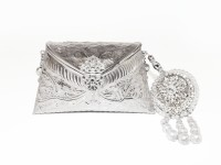 Ruhmet Embossed Silver With Lasel Cut Pearl Detail Tassel  Clutch - Brass