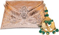Ruhmet Embossed Silver With Green Chand Baali Detail Tassel  Clutch - Brass