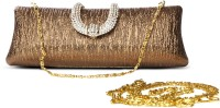 Just Women Antique Textured Crystal Studded  Clutch - Antique Gold-37