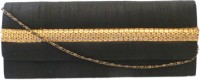 Bhamini Raw Silk With Gold Sequinned Center Border Women Party Black Silk  Clutch