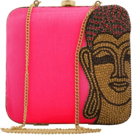 Uptown Laila Women Party Pink Silk  Clutch