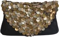 Klasse Genuine Leather Black & Golden Envelope Women Casual Black Genuine Leather  Clutch