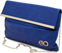 E2O Women Casual Blue Leather  Clutch