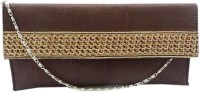 Bhamini Envelope Shape Rose Gold Lace Clutch (Purple)  Clutch - Brown-01