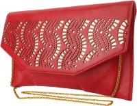 Do Bhai Women Festive Red Artificial Leather  Clutch