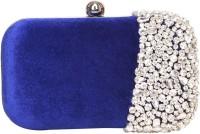 Adara Collections Semi-Studded Women Party Blue Velvet  Clutch