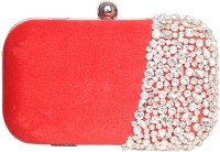 Adara Collections Semi-Studded Women Party Red Velvet  Clutch