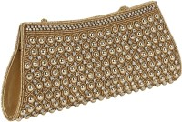 Gold Zari House Casual, Party, Festive Gold Glass Beads, Polyester Satin, PU Linning  Clutch