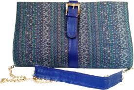 Shor Sharaba Women Party Blue Denim  Clutch