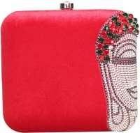Adara Collections Buddha Women Party Red Velvet  Clutch