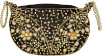 Glitters Girls, Women Party, Casual Black Fabric  Clutch