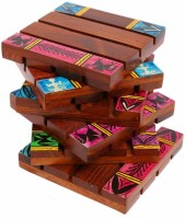 Indikala Square Wood Coaster Set Purple, Brown, Pack Of 6