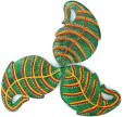 Indikala Green Leaf Shaped Wooden Coaster Set - Pack Of 3