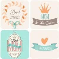 Giftsmate Mothers Day Wood Coaster Set Multicolor, Pack Of 4 - COAE6ZPVZWGQU8ZA