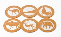 Ashvita Design Studio Animal Cork Coaster Set Multicolor, Pack Of 6