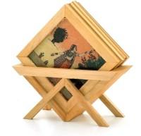 Jaipur Raga Rajasthani Art Wood Coaster Set Brown, Pack Of 5