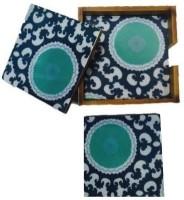 Amraai Square Acrylic, Wood Coaster Set Dark Blue, Green, White, Pack Of 5