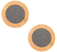 AND Retails Round Bamboo Coaster Set Brown, Pack Of 2