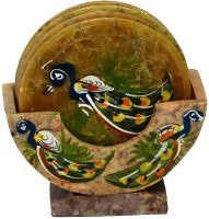 Anshul Fashion Oval Marble Coaster Set Green, Pack Of 6