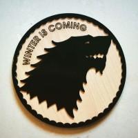 Tappu Ki Dukaan Round Wood Coaster Set Black, Pack Of 3