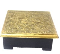 Jodhpuri's Square Wood Coaster Set Black, Gold, Pack Of 6
