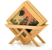 Little India Precious Gemstone Painting -117 Wood Coaster Set (Pack Of 5)
