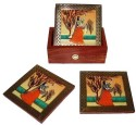 Crafts Paradise Beautifully Handcrafted With Gemstone Made Painting Wooden Coaster Set - Pack Of 7 - COADZYX6JH9FTDFW