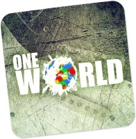 PosterGuy One World Graphic Design Graphic Illustration Wood Coaster Multicolor, Pack Of 1