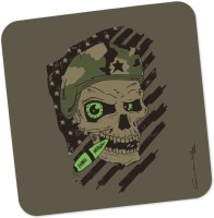 PosterGuy Militant Skull Quirky Illustration Wood Coaster Brown, Green, Pack Of 1