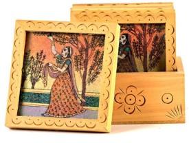 Creative Handicraft Unique Gemstone Painted Square Tea Coaster Set Showpiece - 12 cm