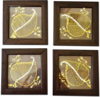 Spectrahut Square Acrylic Coaster Set Brown, Gold, Pack Of 4