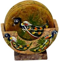 Anshul Fashion Triangle Marble Coaster Set Green, Pack Of 7
