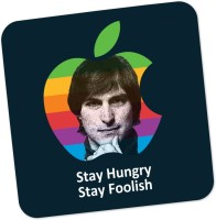 PosterGuy Stay Hungry Stay Foolish Steve Jobs Motivational Quote Wood Coaster Multicolor, Pack Of 1