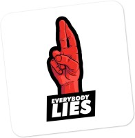 PosterGuy Everybody Lies House MD Inspired TV Series Minimal Wood Coaster Black, Red, Pack Of 1
