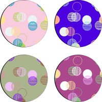 Sajawathomes Colorfull Pattern Set Of Four Design 62 Wood Coaster Set (Pack Of 4)
