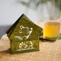 ExclusiveLane Square Wood Coaster Set Green, Pack Of 6