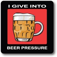 Nourish I Give Into Beer Pressure Wood Coaster Multicolor, Pack Of 1