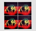 Indigo Creatives Zion Lion Bar Glass Table MDF Coaster Set - Pack Of 4