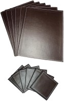 Amita Home Furnishing Rectangle Leather Coaster Set Brown, Pack Of 12