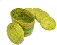 Art Godaam Round Cotton Coaster Set Light Green, Pack Of 5