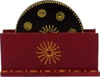 ECraftIndia Round Wood Coaster Set Black, Maroon, Pack Of 6