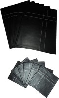 Amita Home Furnishing Rectangle Leather Coaster Set Black, Pack Of 12