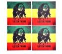 Indigo Creatives Bob Marley Bar Glass Table MDF Coaster Set - Pack Of 4