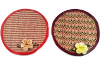 PotterybyManjariKanoi Round Bamboo Coaster Set Multicolor, Pack Of 2