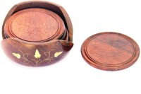 Woodpedlar Round Wood Coaster Set Brown, Pack Of 7