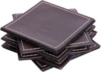 Sutra Décor Rectangle Leather Coaster Set Black, Pack Of 6