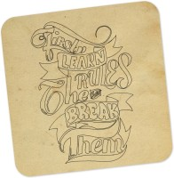 PosterGuy Break The Rules Motivational Typography Wood Coaster (Pack Of 1)